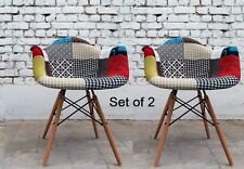 Vintage Patchwork Armchair Furniture Retro Fabric Tub Chair Wooden Legs Set Of 2