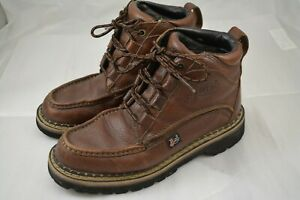 Mens JUSTIN Boots Lace Up Brown Leather Size 6.5 M