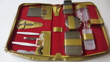Travel Grooming, Containers, Nail & Sewing Kit Set, Leather Case, W. Germany