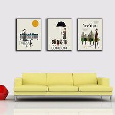 3 Panels 40×50×3cm Paris London New York Canvas Print Framed Wall Art Home Decor