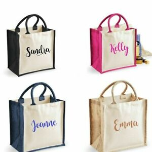 Personalised Midi Jute Tote Canvas Holiday Shopping Gift Bag PERFECT GIFT- new