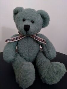 Russ Berrie Green Frizzlin Bear Plaid Bow Tie