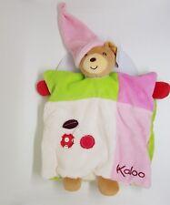 Doudou Plat Ours KALOO COLORS Cherry Cerise Marionnette Blanc Rose Vert NEUF