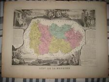 Fine Antique 1861 Department De La Meurthe Nancy France Levasseur Handcolor Map