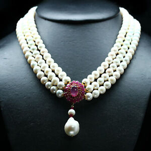 "REAL BAROQUE WITH ROUND WHITE PEARL & RED RUBY NECKLACE 18"" 925 SILVER"