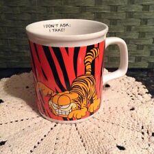 "Garfield Coffee Mug Cup 1978 Jim Davis Cartoon Enesco "" I don't ask I take!"""