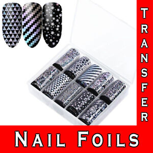 Nail Transfer Foil Art Stickers Black Lace Decal Elegant Warp up Nail Sticker