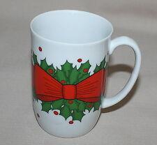 Fitz Floyd Holly Wreath Mug 1976 Christmas Holiday Bow Berries