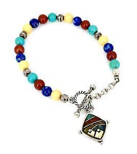Carolyn Pollack Signed .925 Sterling Silver Multi Color Beaded Bracelet