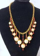 Vintage Unsigned Miriam Haskell Large Pearls Drops Stone Massive Bib Necklace