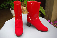 Bottines BALI BARRET pour ANDRE Toile Cuir vernis rouge T 37 TBE