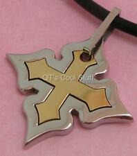 MALTESE IRON CROSS STAINLESS PENDANT GENUINE LEATHER NECKLACE CHOKER-MEN'S 18""