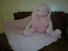 Baby Lot Piccolo Bambino Large Pink Bunny Rabbit & Handmade Knitted Quilt