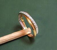 Erstklassiger 750er Juweliers-GOLDRING Bicolor m. BRILLANTEN • 2,9 g