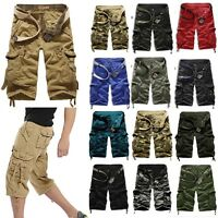 Mens Casual Cargo Shorts Pants Chino Military Outdoor Combat Bottoms Trousers