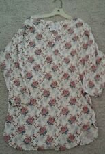 Rene Rofe Women Red Multi Floral Long Sleeve Cotton Knit Short Nightgown Size M