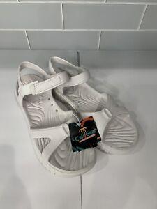 Womens NEW cali gear white rubber sketchers foam open toe strappy sandals sz 10