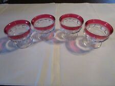 Set of 4 Ruby Red Thumbprint KINGS CROWN Sherbet Champagne Glass