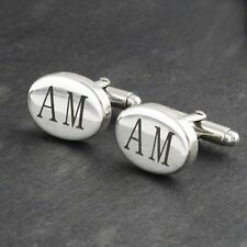 Custom Engraved Men's Oval Cuff Links - 925 Sterling Silver  Up to 3 Letters NEW