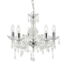 Searchlight 5 Light Marie Therese Style Chandelier With Clear Acrylic Droplets