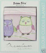 Bubba Blue BABY OWL GIRL Embroidered Reversible Bassinet / Cradle Velour Blanket