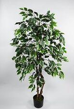 Ficus Excotica 120cm Grn Creme DA Knstlicher Baum Kunstbaum Kunstpflanzen