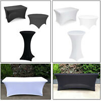 Round Rectangular Cocktail Spandex Stretch Tablecloth Cover Wedding Party