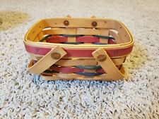 Longaberger 1999 Small Basket with Multi-color Strips and double swing handles