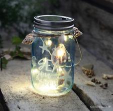 MARITIME DEKORATION WINDLICHT GLAS BELEUCHTET TÜRKIS LED FISCHERNETZ MUSCHELN
