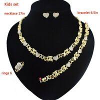 Kids Hugs & Kisses Xo Teddy Bear Necklace Ring Bracelet & Earrings set #12
