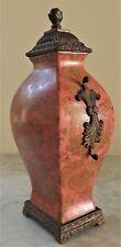 Vintage Art Deco Vase Jar Lidded Hawthorn Cracked Texture Metal Porcelain Urn
