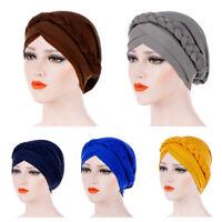 Womens Solid Plait India Hat Muslim Ruffle Cancer Chemo Beanie Turban Wrap Cap