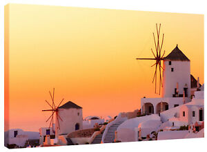 Santorini Sunset Greece Canvas Wall Art Print also in Black and White or Sepia