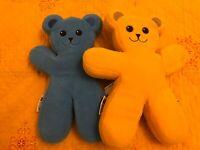 Set of 2 Ikea PS Brum Yellow + Blue Teddy Bear Soft Toy Plush Bendy Limbs