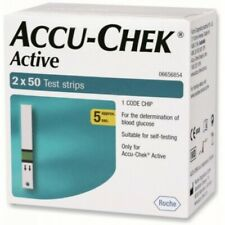 2 x 50, 100 Test Strips for Glucometer Accu-Chek Active Expiry June 2021