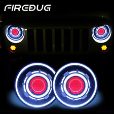 "Firebug 7"" Jeep Wrangler Headlights Halo Blue Angel Eye & Red Demon Eye"