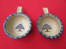 1992 Three Rivers Pottery 2 Soup Bowls #36 Salt Glaze Tree in Bowl
