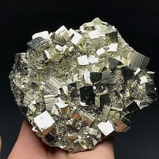 668gRare Natural Shiny Golden irregular pyrite crystal cluster mineral specimen