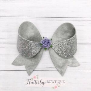 Flower Embellished Bow, Silver Glitter Bow