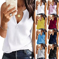 Womens Summer Knitted Tank Top Plus Size Vest T Shirt Casual Loose Tops Blouse