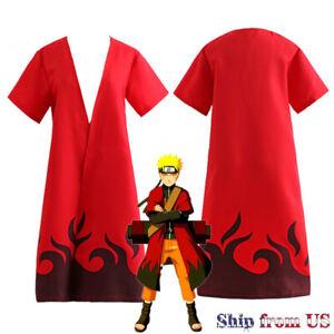 Naruto Shippuden Uzumaki Senjutsu Leaf Hokage Costume Cosplay Robe Cloak Cape