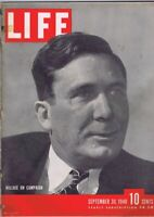 ORIGINAL Vintage September 30 1940 Life Magazine Wendell Willkie on Campaign