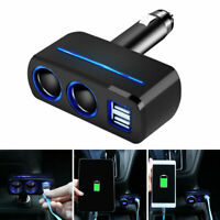 2 Way Dual USB Car Charger Socket Cigarette Lighter Splitter Power Adapter 12V