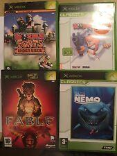 4x Original XBOX Gusanos Paquete De Juegos 3D + fuertes bajo asedio + Fable 1 + Finding Nemo