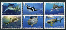 BIOT Br Indian Ocean Terr 2017 MNH Mega Fauna 6v Set Sharks Fish Marlin Stamps