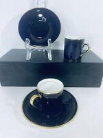 Set (2) Fondeville English Cobalt Blue Porcelain Demitasse Espresso Cup & Saucer