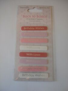 Dovecraft Back To Basics Sentiment Toppers 8/Pkg-Perfectly Pink - NEW