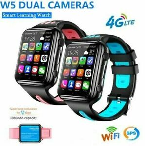 W5 4G Kid Smart Phone Mate Watch Waterproof GPS+WiFi Dual Camera Free Video Call