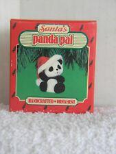 SANTA'S PANDA PAL - WEARING SANTA HAT - FLOCKED - HALLMARK ORNAMENT - 1986