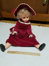 Vintage Uneeda Doll 25� Pixie Face red velvet Gown hat 1967 hair net shoes